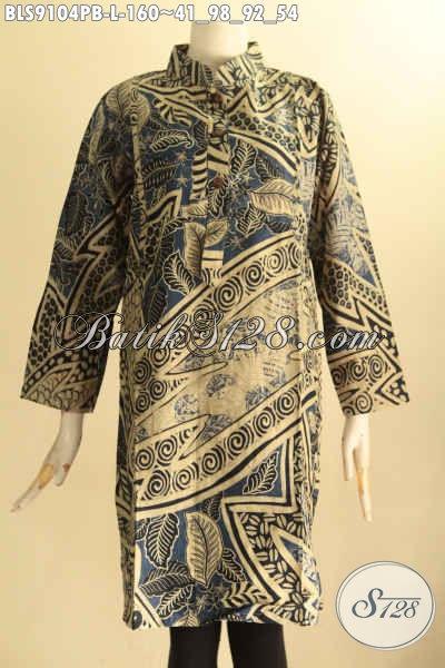 Toko Busana Batik Solo Online, Sedia Blouse Batik Wanita Terkini Model Kerah Shanghai Lengan 7/8 Bahan Halus Motif Elegan Hanya 100 Ribuan