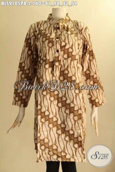 Pakaian Batik Wanita Terkini Nan Elegan Dan Istimewa, Blouse Batik Solo Motif Klasik Printing Cabut Model Kerah Shanghai Lengan 7/8 Kancing Depan, Pilihan Tepat Tampil Anggun Menawan [BLS9105PB-L]