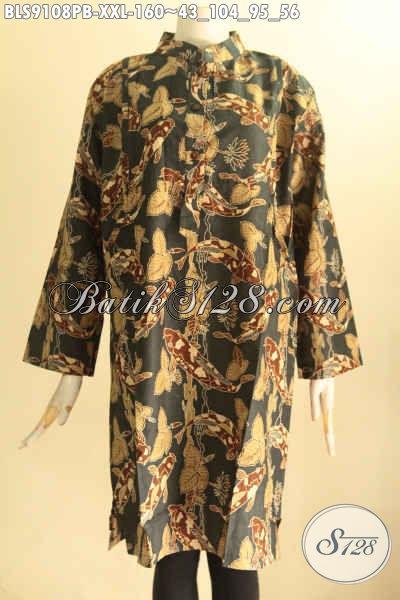 Baju Batik Blouse Elegan Wanita Gemuk Cocok Buat Ngantor Ataupun Acara Resmi, Hadir Dengan Model Kerah Shanghai Lenan 7/8 Pakain Kancing Depan Dan Saku Dalam [BLS9108PB-XXL]