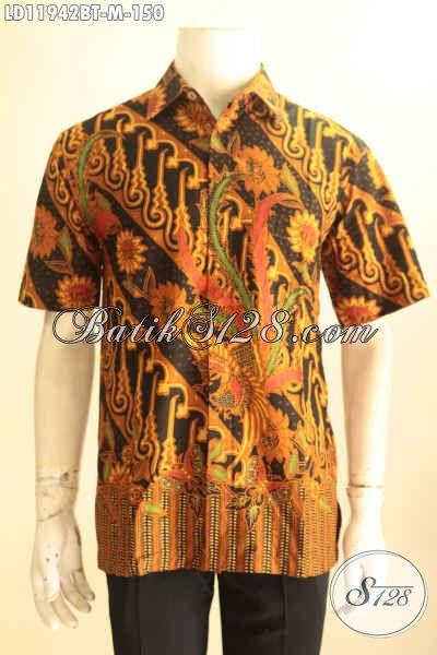 Model Baju Batik Solo Trendy Lengan Pendek Motif Bagus Dan Elegan, Kemeja Batik Kombinasi Tulis Kwalitas Istimewa Harga 100 Ribuan Saja