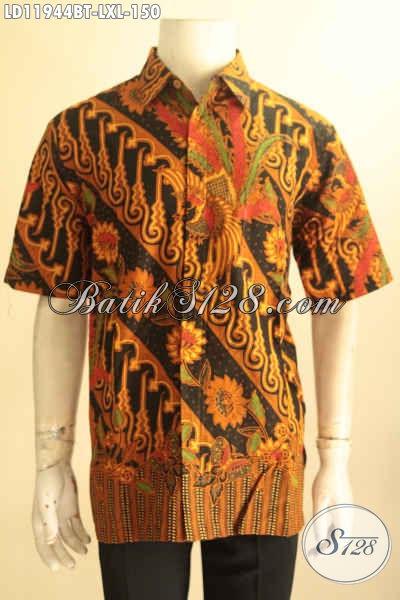 Produk Pakaian Batik Pria Terbaru, Kemeja Batik Solo Halus Lengan Pendek Motif Elegan Jenis Kombinasi Tulis, Tampil Berkelas Dengan Harga Terjangkau [LD11944BT-XL]