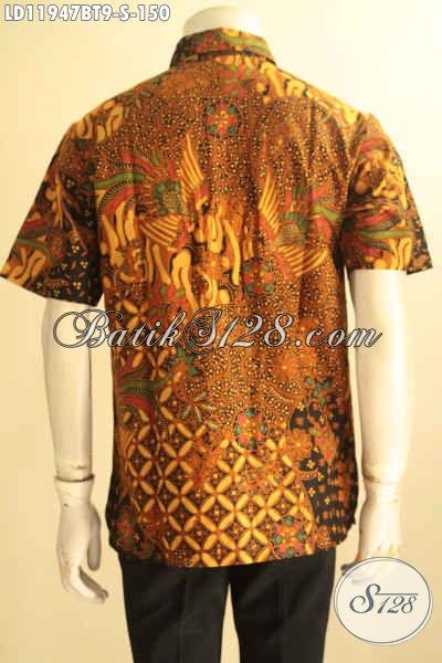 Pakaian Batik Pria Muda Terbaru, Busana Batik Solo Lengan Pendek Motif Bagus Jenis Kombinasi Tulis, Di Jual Online 150K