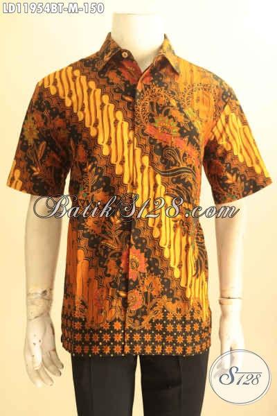 Kemeja Batik Modern Motif Klasik, Baju Batik Kerja Pria Kantoran Lengan Pendek Jenis Kombinasi Tulis Bahan Halus Yang Nyaman Di Pakai