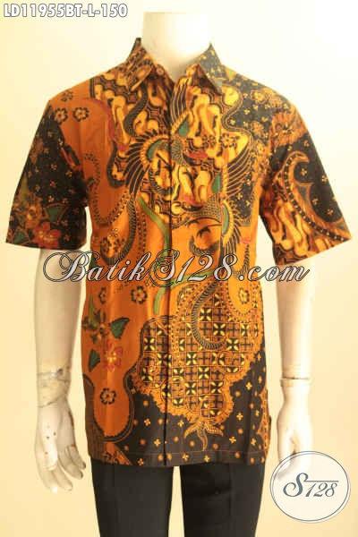 Kemeja Batik Kerja Pria Karir, Busana Batik Solo Halus Lengan Pendek Kwalitas Istimewa Untuk Penampilan Gagah Dan Tampan