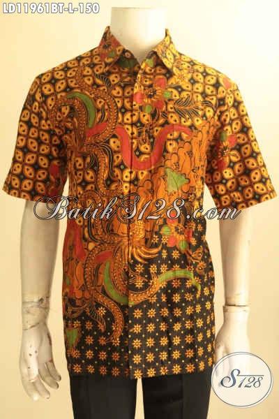 Busana Batik Pria Motif Elegan Klasik, Baju Batik Lengan Pendek Jenis Kombinasi Tulis Kwalitas Bagus Bisa Untuk Ke Kondangan Dan Acara Formal Tampil Menawan