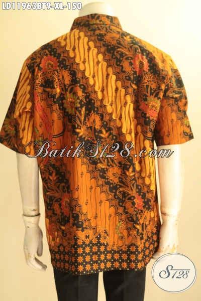 Produk Pakaian Batik Solo Elegan Model Lengan Pendek, Baju Batik Kerja Pria Dewasa Moif Klasik Kombinasi Tulis, Penampilan Terlihat Rapi Dan Berkelas