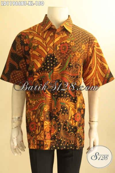 Baju Batik Lengan Pendek Pria Nan Istimewa Dengan Harga Biasa, Kemeja Batik Halus Kwalitas Bagus Bahan Halus Motif Terkini Jenis Kombinasi Tulis, Pas Banget Buat Ngantor Maupun Acara Resmi