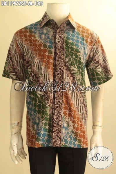 Kemeja Batik Istimewa Jenis Cap Tulis, Pakaian Batik Solo Motif Elegan Dengan Sentuhan Klasik Model Lengan Pendek, Pria Muda Tampil Tampan Dan Gagah