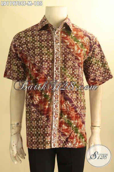 Kemeja Batik Pria Modern Lengan Pendek Jenis Cap Tulis, Busana Batik Solo Asli Kwalitas Istimewa Yang Bikin Penampilan Tampan Dan Mempesona