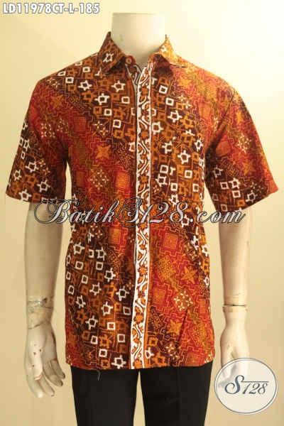 Kemeja Batik Modis, Busana Batik Keren, Pakaian Batik Kekinian Model Lengan Pendek Motif Terbaru Jenis Cap Tulis, Pilihan Tepat Tampil Gagah Dan Tampan