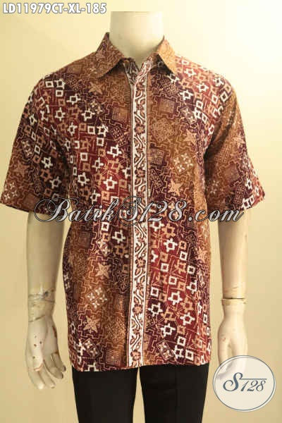 Baju Batik Elegan Warna Coklat Motif Elegan, Busana Batik Solo Terbaru Nan Istimewa Jenis Cap Tulis Untuk Kondangan Maupun Kerja Kantoran Tampil Menawan [LD11979CT-XL]