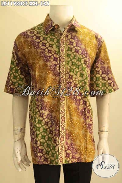 Kemeja Batik Pria Gemuk Nan Elegan, Busana Batik Desain Trendy Warna Berkelas Jenis Cap Tulis Motif Kekinian, Pilihan Terbaik Untuk Penampilan Makin Sempurna