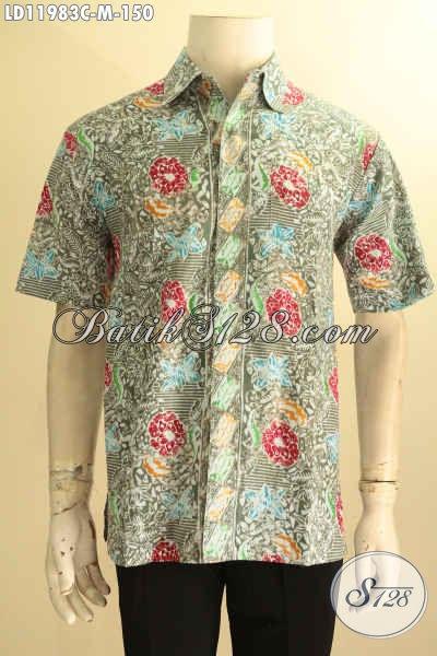 Baju Batik Modis Untuk Kawula Muda, Kemeja Batik Halus Motif Bunga Proses Cap Model Lengan Pendek, Tampil Trendy Dan Stylish [LD11983C-M]
