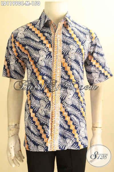 Kemeja Batik Trendy Pria Muda Untuk Tampil Gagah Dan Bergaya, Busana Batik Solo Lengan Pendek Jenis Cap, Modis Untuk Kerja Dan Jalan-Jalan