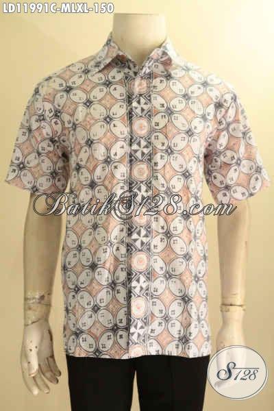 Aneka Baju Batik Kerja Pria Warna Pastel, Hem Batik Lengan Pendek Halus Motif Elegan Jenis Cap, Menunjang Makin Berkelas  [LD11991C-L , XL]