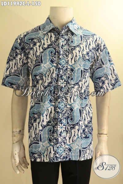 Busana Batik Pria Nan Elegan, Pakaian Batik Solo Halus Lengan Pendek Motif Klasik Dengan Sentuhan Modern Jenis Cap, Tampil Tampan Dan Gagah [LD11992C-L]