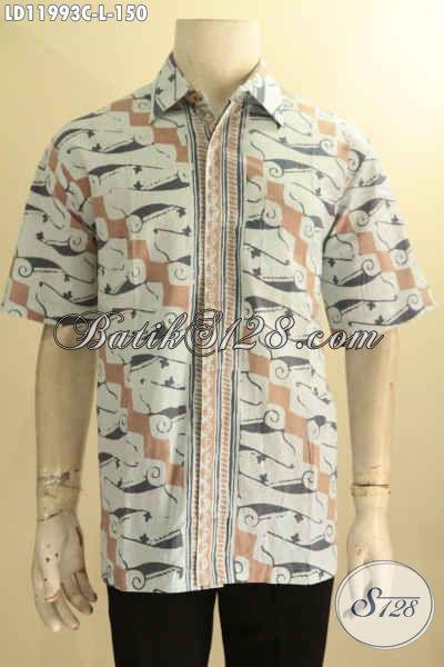 Kemeja Batik Solo Lengan Pendek Nan Istimewa, Hem Batik Halus Warna Pastel Motif Klasik Jenis Cap, Menunjang Penampilan Gagah Dan Menawan [LD11993C-L]