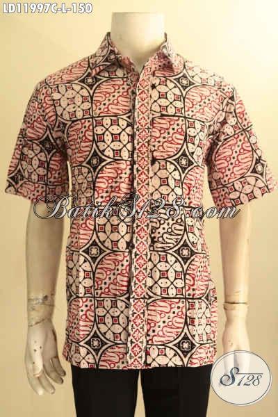 Baju Batik Pria Seragam Kerja Kantor, Kemeja Lengan Pendek Modis Motif Terbaru Proses Cap Kwalitas Istimewa, Bikin Penampilan Lebih Gagah Mempesona