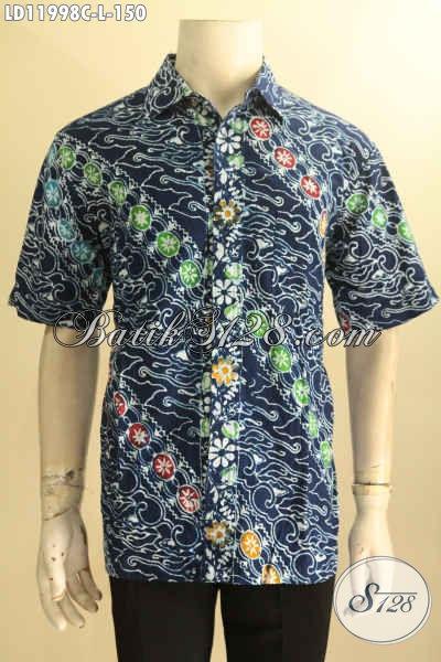 Baju Batik Pria Warna Biru Motif Modern Klasik, Kemeja Batik Solo Nan Istimewa Jenis Cap Model Lengan Pendek Pas Buat Kerja Dan Acara Santai [LD11998C-L]