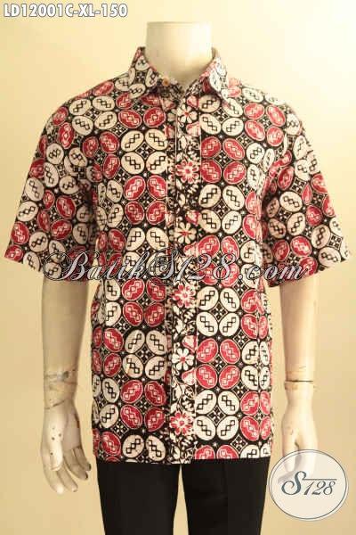 Baju Batik Pria Dewasa Nan Keren, Pakaian Batik Solo Halus Kwalitas Istimewa Model Lengan Pendek  Motif Keren Proses Cap, Penampilan Lebih Gagah Dan Istimewa [LD12001C-XL]