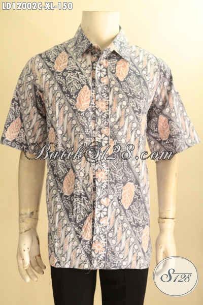 Kemeja Batik Pria Lengan Pendek Halus Motif Elegan Jenis Cap, Baju Batik Cowok Buat Kerja Dan Acara Resmpi Tampil Berkelas [LD12002C-XL]
