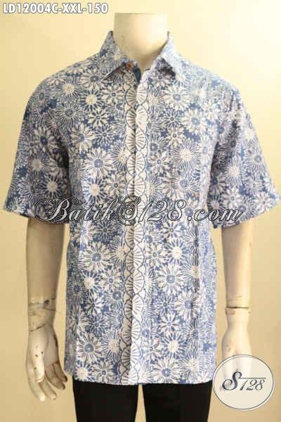 Baju Batik Pria Gemuk, Kemeja Batik Solo Halus Motif Trendy Bahan Halus Kwalitas Istimewa Hanya 150K [LD12004C-XXL]