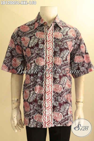 Kemeja Batik Murah Keren Bahan Halus Motif Terkini Proses Cap, Pakaian Batik Solo Spesial Buat Lelaki Gemuk Tampi Gagah Menawan [LD12005C-XXL]