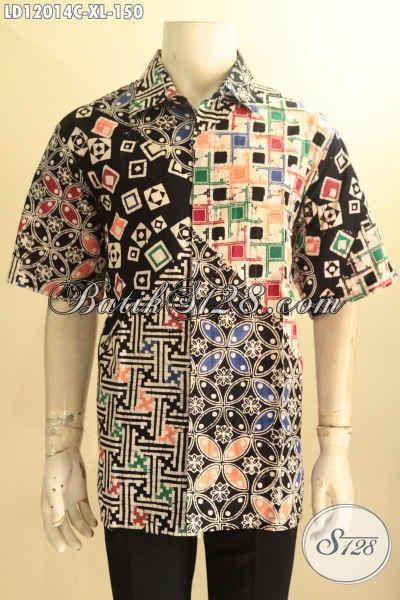 Pakaian Batik Pria Dewasa Model Lengan Pendek Kekinian, Hem Batik Halus Motif Keren Jenis Cap Bahan Halus Warna Trendy, Penampilan Terlihat Lebih Gaya [LD12014C-XL]
