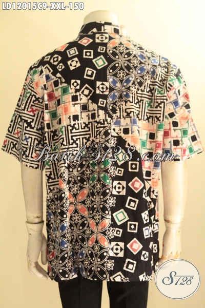 Kemeja Batik Size XXL Spesial Buat Lelaki Gemuk, Baju Batik Lengan Pendek Motif Istimewa Proses Cap Berpadu Warna Keren, Tampil Tampan Menawan