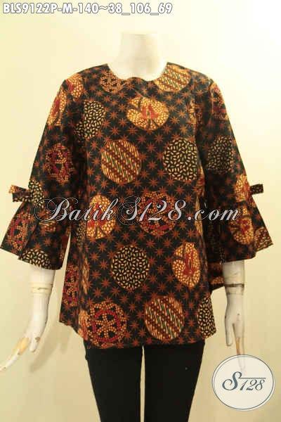 Busana Batik Wanita Desain Keren Motif Elegan, Pakaian Batik Trendy Tanpa Kerah Lengan 3/4 Berpita, Penampilan Cantik Mempesona