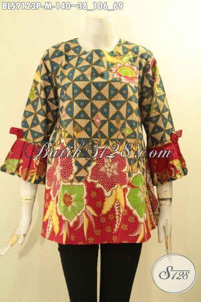 Busana Batik Wanita Ukuran M, Pakaian Batik Modis Halus Motif Kekinian Proses Printing Model Tanpa Kerah Lengan 3/4 Berpita, Bikin Penampilan Lebih Gaya