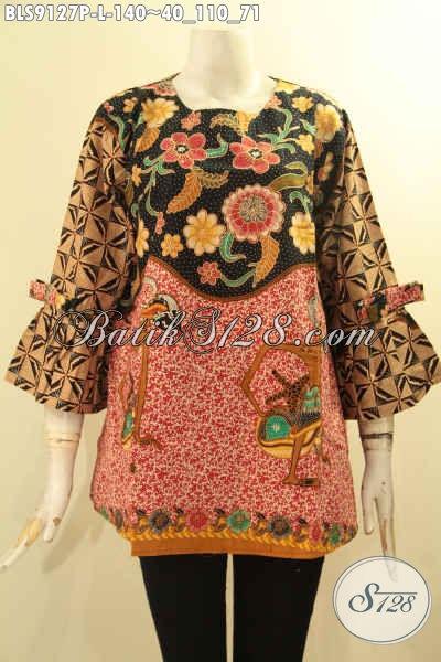 Koleksi Terbaru Pakaian Batik Wanita Untuk Kerja, Blouse Batik Tanpa Kerah Lengan 3/4 Berpita Motif Bagus Proses Printing Hanya 100 Ribuan