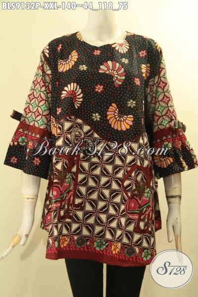Baju Batik Wanita Gemuk, Blouse Batik Solo Jawa Tengah Lengan 3/4 Berpita Nan Trendy, Pakaian Batik Terbaru Model Tanpa Kerah Motif Elegan, Bisa Untuk Acara Santai Maupun Resmi