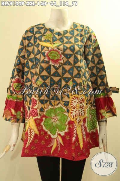 Busana Batik Jumbo Tanpa Kerah Lengan 3/4 Berpita, Pakaian Batik Modern Motif Bagus Jenis Printing Kwalitas Istimewa Spesial Untuk Wanita Gemuk Tampil Bergaya