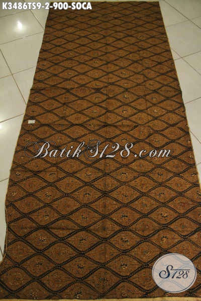 Kain Batik Klasik Motif Soca, Batik Solo Mewah Jenis Tulis Soga Bahan Jarik Premium Bisa Untuk Acara Adat Khas Jawa Tengah [K3486TS-240x110cm]