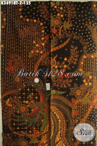 Kain Batik Bahan Kemeja Pria Lengan Panjang, Batik Solo Halus Untuk Pakaian Kerja Wanita Karir, Kwalitas Istimewa Jenis Kombinasi Tulis Motif Elegan [K3491BT-240x110cm]