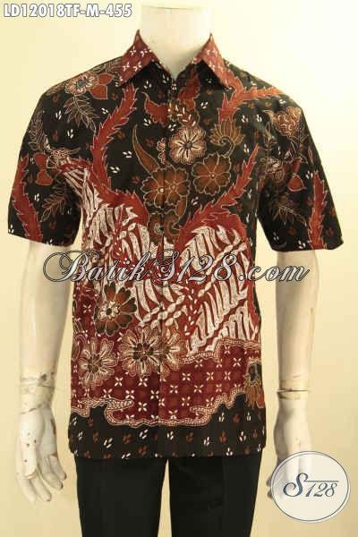 Busana Batik Pria Terbaru, Kemeja Lengan Pendek Batik Tulis Mewah Daleman Full Furing Bikin Penampilan Gagah Dan Berkelas [LD12018TF-M]