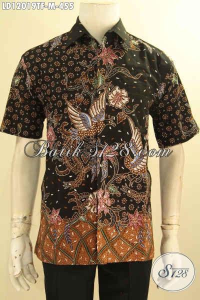 Jual Online Kemeja Batik Pria Lengan Pendek Jenis Tulis, Baju Batik Elegan Halus Warna Berkelas Daleman Full Furing, Tampil Tampan Menawan