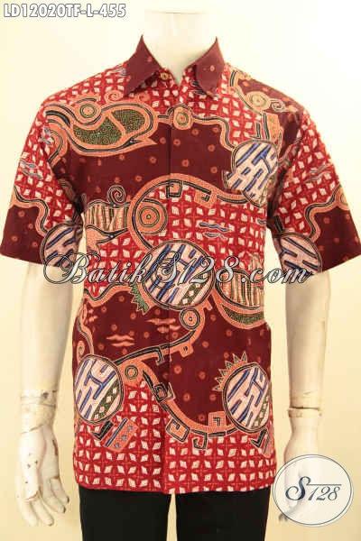 Kemeja Batik Keren Kwalitas Premium, Baju Batik Tulis Lengan Pendek Buatan Solo Asli Spesial Buat Ngantor Dan Hangout, Tampil Gagah Menawan [LD12020TF-L]