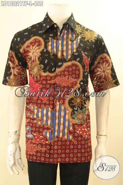 Baju Batik Cowok Terbaru Model Lengan Pendek Jenis Tulis, Pakaian Batik Kemeja Pria Nan Mewah Daleman Full Furing, Penampilan Lebih Gagah Dan Kekinian
