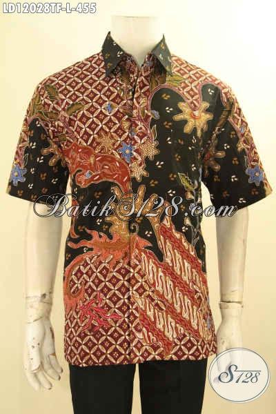 Jual Baju Kemeja Batik Pria Kwalits Premium, Baju Batik Lengan Pendek Jenis Tulis Daleman Full Furing Cocok Untuk Acara Resmi Dan Seragam Kerja Kantoran [LD12028TF-L]