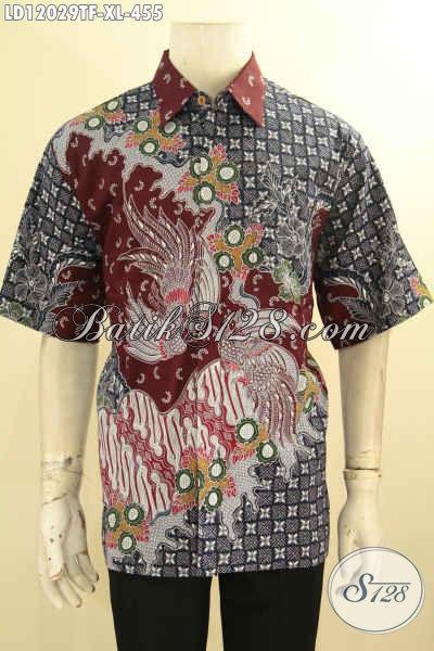 Kemeja Batik Pria Dewasa Ukuran XL, Hem Batik Lengan Pendek Solo Premium Jenis Tulis Motif Terbaru, Penampilan Terlihat Gagah Dan Berkelas [LD12029TF-XL]