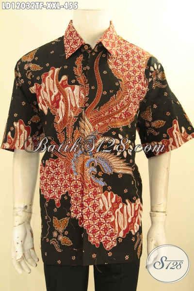 Kemeja Batik Big Size, Busana Batik Solo Istimewa Jenis Tulis Spesial Untuk Pria Gemuk Model Lengan Pendek Full Furing, Tampil Mewah Dengan Harga Terjangkau