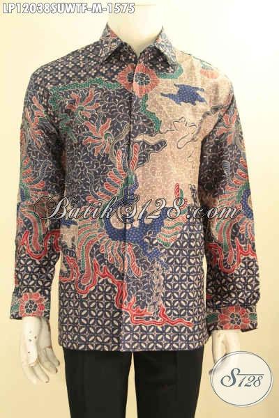 Kemeja Batik Premium Solo Lengan Panjang, Busana Batik Mewah Tulis Sutra Dan Berkelas Motif Elegan Warna Bagus Daleman Full Furing, Pas Untuk Acara Resmi Dan Kondangan