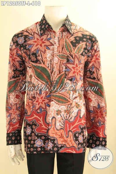Busana Batik Kerja Pria Sukses Lengan Panjang Full Furing, Baju Batik Tulis Premium Motif Mewah, Cocok Juga Untuk Acara Resmi Maupun Kondangan  [LP12050TF-L]