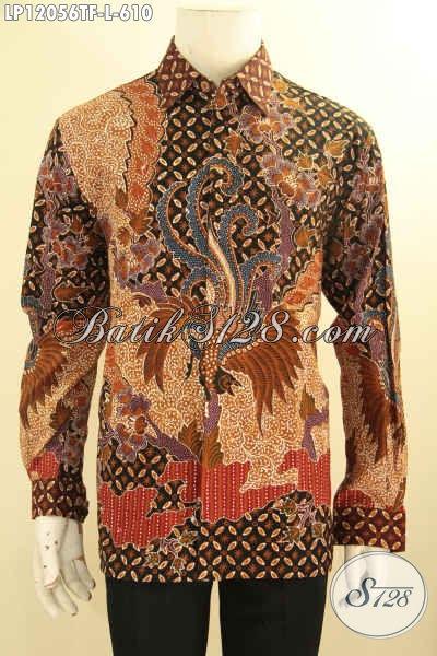 Koleksi Terbaru Kemeja Batik Premium Lengan Panjang Khas Solo, Busana Batik Elegan Full Furing Motif Terkini Jenis Tulis, Cocok Banget Untuk Ke Pernikahan [LP12056TF-L]