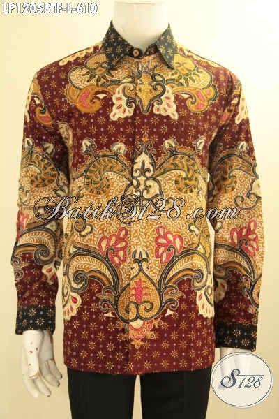 Produk Terkini Baju Batik Pria Lengan Panjang Size L, Busana Batik Mewah Motif Baru Jenis Tulis Lebih Mewah Dengan Daleman Full Furing, Tampil Gagah Berwibawa