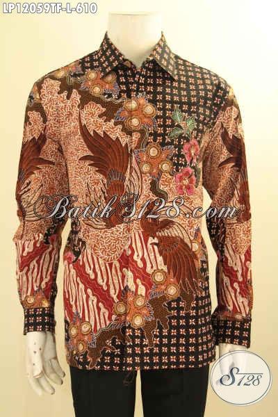 Kemeja Batik Mewah Jawa Tengah, Busana Batik Solo Lengan Panjang Motif Terbaru Daleman Full Furing, Baju Batik Tulis Khas Pejabat Tampil Percaya Diri