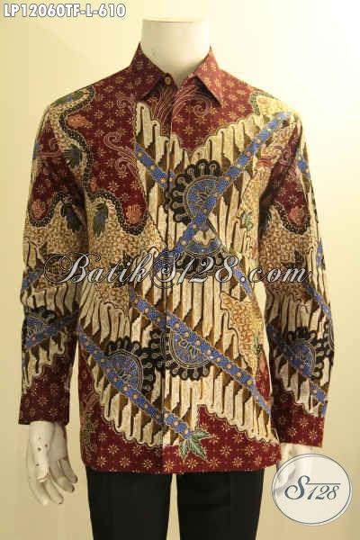 Model Baju Kemeja Pria Lengan Panjang Full Furing, Busana Batik Solo Mewah Jenis Tulis Motif Terbaru Nan Elegan, Tampil Makin Tampan Dan Berkelas [LP12060TF-L]
