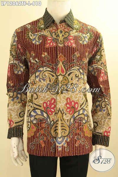 Kemeja Batik Premium Solo Terbaru, Busana Batik Mewah Lengan Panjang Pakai Furing Motif Bagus Elegan Klasik Jenis Tulis Tampil Berwibawa Daleman Full Furing
